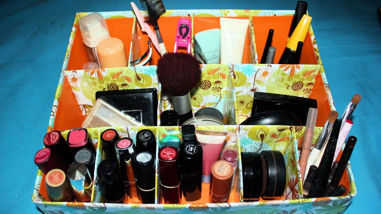 diy makeup organizer cardboard tutorial