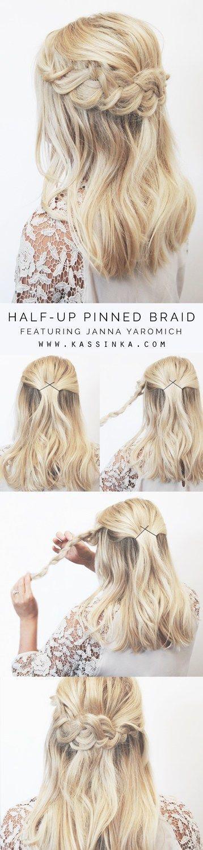 half up half down hair tutorial